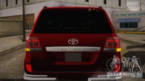 Toyota Land Cruiser 200 для GTA San Andreas вид снизу