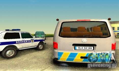 Volkswagen Transporter Policie для GTA San Andreas вид сзади слева