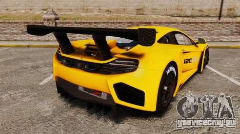 McLaren MP4-12C GT3 (Updated) для GTA 4 вид сзади слева