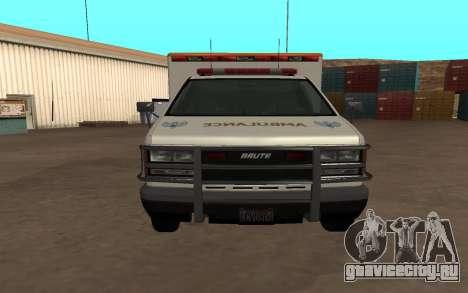 GTA 5 Ambulance для GTA San Andreas вид сзади слева
