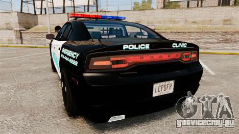 Dodge Charger 2011 Liberty Clinic Police [ELS] для GTA 4 вид сзади слева