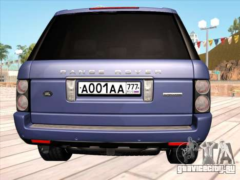 Land Rover Supercharged Stock 2010 V2.0 для GTA San Andreas вид сзади