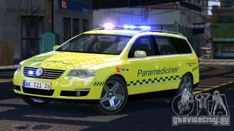 Volkswagen Passat Variant 2010 Paramedic [ELS] для GTA 4