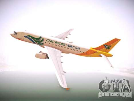 Airbus A320 Cebu Pacific Air для GTA San Andreas вид сзади