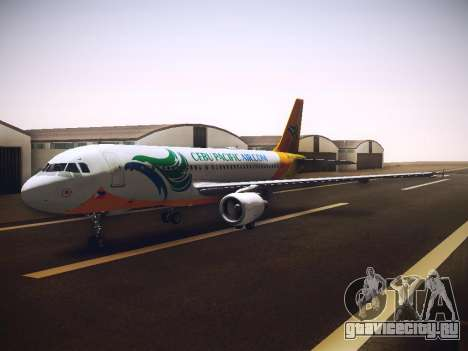 Airbus A320 Cebu Pacific Air для GTA San Andreas вид изнутри