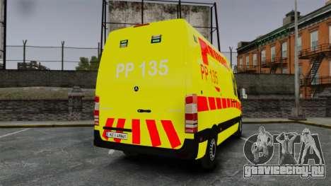 Mercedes-Benz Sprinter Finnish Ambulance [ELS] для GTA 4 вид сзади слева