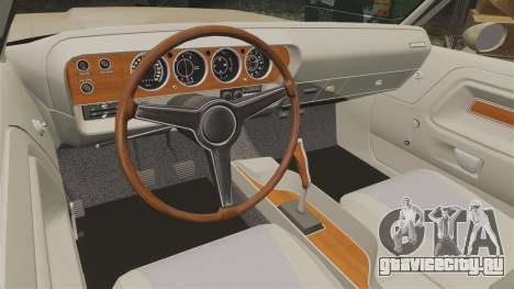 Dodge Challenger RT 1972 для GTA 4 вид изнутри