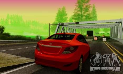 Hyndai Solaris для GTA San Andreas вид справа