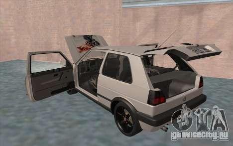 Volkswagen Golf 2 для GTA San Andreas вид снизу