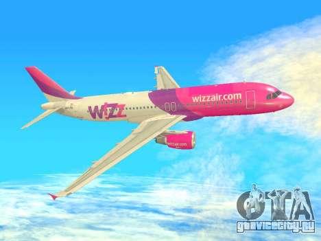 Airbus A320-200 WizzAir для GTA San Andreas вид снизу