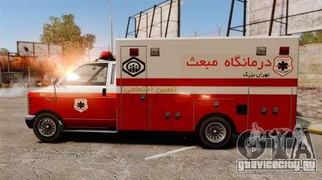 Иранский раскрас скорой медицинской помощи для GTA 4 вид слева