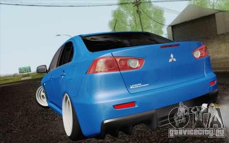 Mitsubishi Lancer Evo X GangLow для GTA San Andreas вид слева