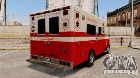 Иранский раскрас скорой медицинской помощи для GTA 4 вид сзади слева