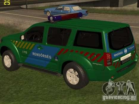 Nissan Pathfinder Police для GTA San Andreas вид снизу