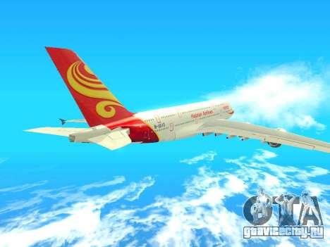 A380-800 Hainan Airlines для GTA San Andreas вид сзади