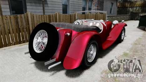 Jaguar SS100 для GTA 4 вид сзади слева