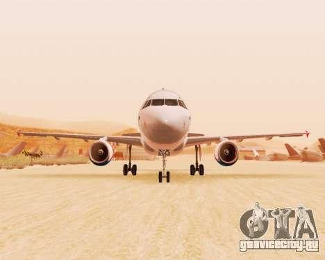 Airbus A320-200 Уральские Авиалинии для GTA San Andreas вид сзади слева