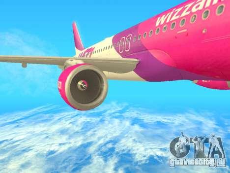 Airbus A320-200 WizzAir для GTA San Andreas вид сзади слева