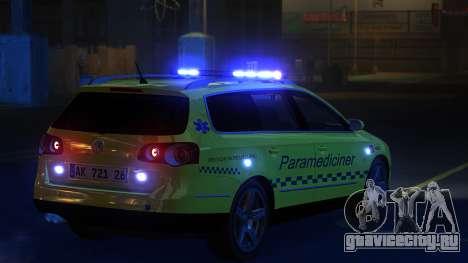 Volkswagen Passat Variant 2010 Paramedic [ELS] для GTA 4 вид сзади слева