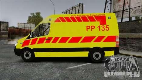 Mercedes-Benz Sprinter Finnish Ambulance [ELS] для GTA 4 вид слева