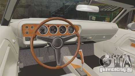 Dodge Challenger 1971 Vanishing Point для GTA 4 вид изнутри