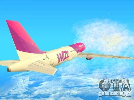 Airbus A320-200 WizzAir для GTA San Andreas вид сзади