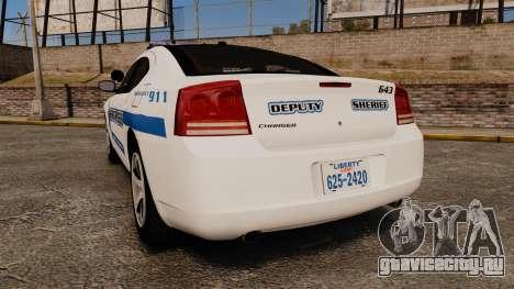 Dodge Charger 2010 Liberty County Sheriff [ELS] для GTA 4 вид сзади слева