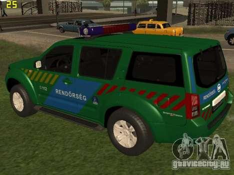 Nissan Pathfinder Police для GTA San Andreas вид сзади слева