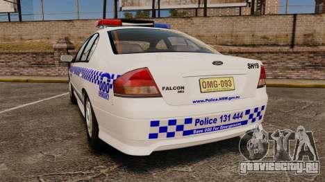 Ford Falcon XR8 Police Western Australia [ELS] для GTA 4 вид сзади слева