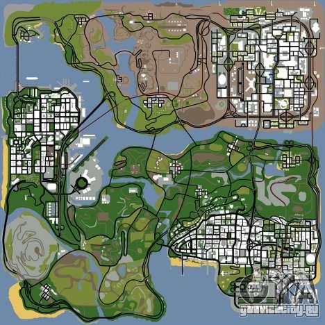 HD карта, радар и меню для GTA San Andreas шестой скриншот