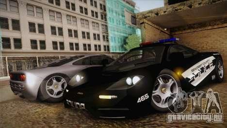 McLaren F1 Police Edition для GTA San Andreas вид слева