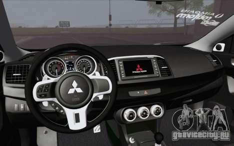 Mitsubishi Lancer Evo X GangLow для GTA San Andreas вид справа