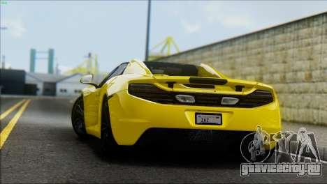 McLaren MP4-12C Spider для GTA San Andreas вид сзади слева