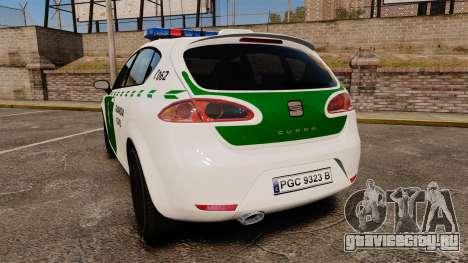 Seat Cupra Guardia Civil [ELS] для GTA 4 вид сзади слева
