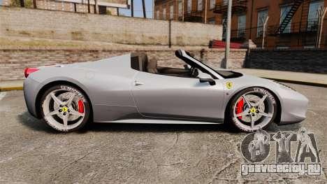 Ferrari 458 Spider для GTA 4 вид слева