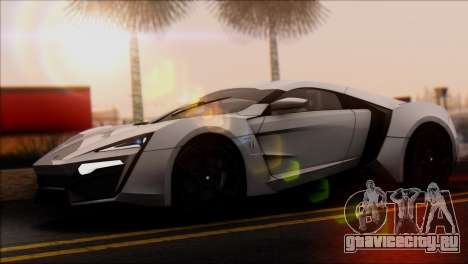 W Motors Lykan Hypersport 2013 для GTA San Andreas вид сзади слева