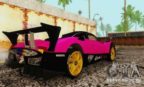 Pagani Zonda Type R Pink для GTA San Andreas вид сзади слева