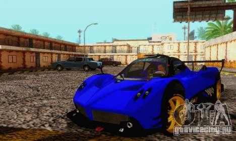 Pagani Zonda Type R Blue для GTA San Andreas вид изнутри