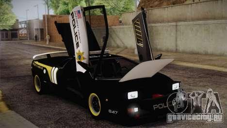 Lamborghini Diablo SV NFS HP Police Car для GTA San Andreas вид изнутри