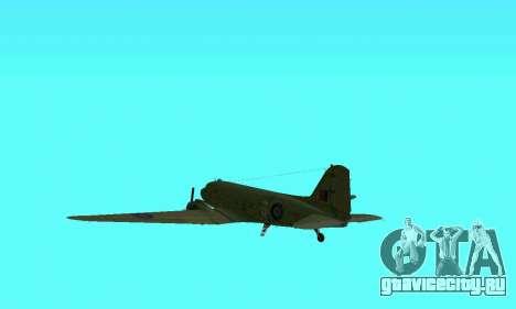 C-47 Дакота RAF для GTA San Andreas вид сбоку