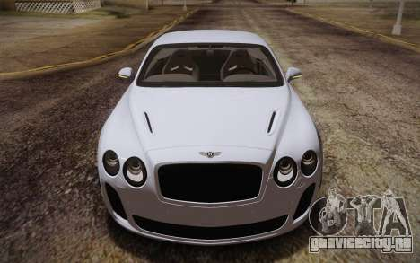 Bentley Continental SuperSports 2010 v2 Finale для GTA San Andreas вид изнутри