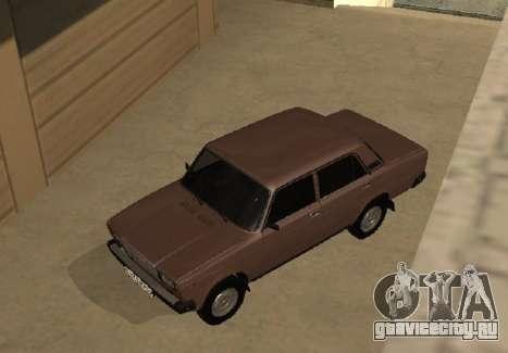 ВАЗ 2107 Ранняя версия для GTA San Andreas вид изнутри