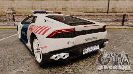 Lamborghini Huracan Hungarian Police [Non-ELS] для GTA 4 вид сзади слева