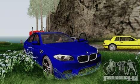BMW F10 M5 2012 Stock для GTA San Andreas вид изнутри