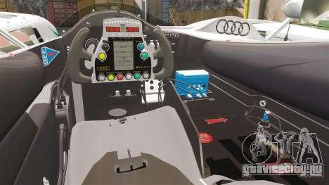 Audi R10 ADT 2008 для GTA 4 вид изнутри