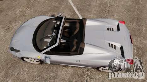Ferrari 458 Spider для GTA 4 вид справа