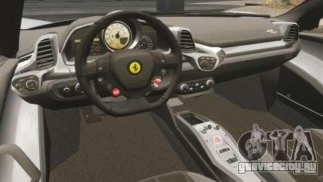 Ferrari 458 Spider для GTA 4 вид сзади