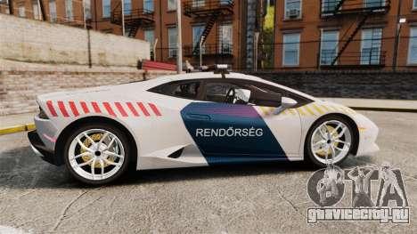 Lamborghini Huracan Hungarian Police [Non-ELS] для GTA 4 вид слева