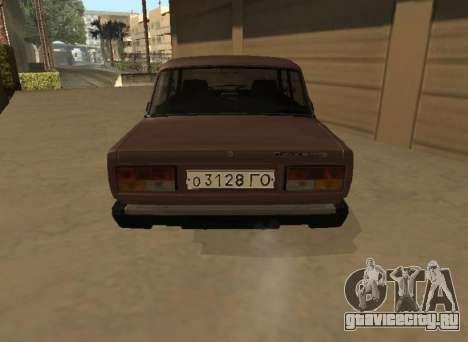 ВАЗ 2107 Ранняя версия для GTA San Andreas вид сзади слева