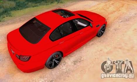 BMW F10 M5 2012 Stock для GTA San Andreas вид справа